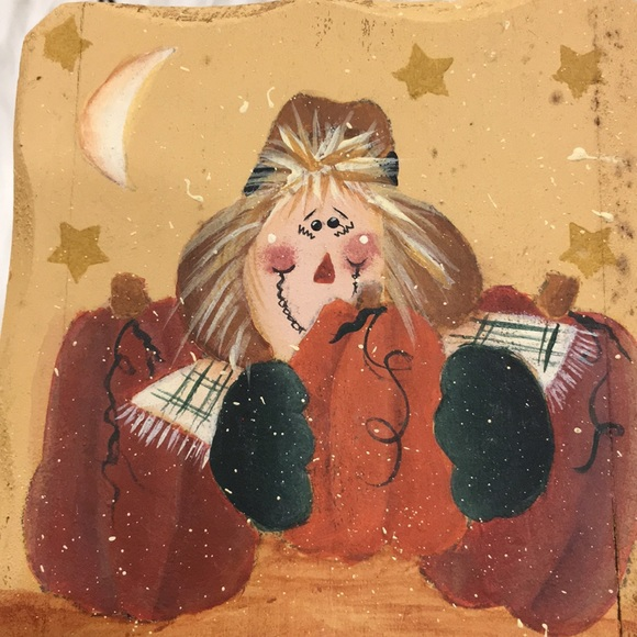 """Scarecrow Wooden Painted Basket 3x3"""""""